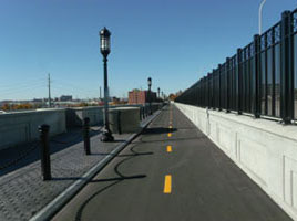 Garden City fluted bollards at the Washington Bridge in Providence, RI.